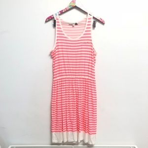 LOFT pink and white striped dress size S
